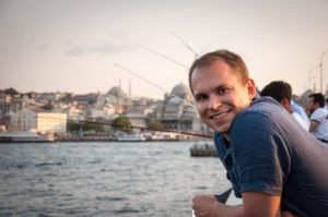 That's me on the Galata bridge in Istanbul in August 2015